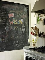 Blackboard covered with writing and kitchen utensils next to hob in kitchen