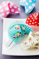 Fortune cookies made from paper cake cases