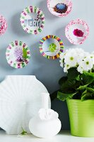 Wall decorations made from paper cake cases