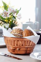 Bundt tin used as bread basket