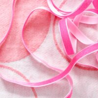 Pink ribbons on flannel