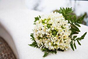 Bridal bouquet of white anemones