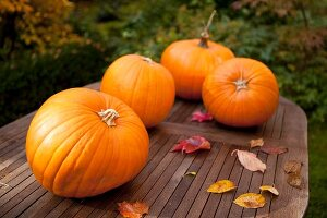 Pumpkins on a wooden table in the garden