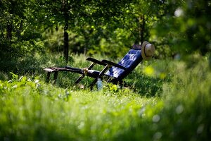 Lounger in garden