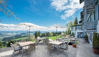 Sun terrace of Hotel Moosegg with view of Langnau im Emmental, Bern Canton, Switzerland