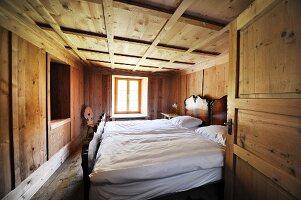 Simple bedroom in chalet