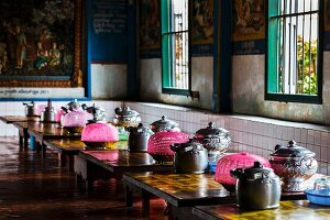 Table set with food for Buddhist monks (Cambodia)