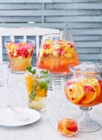 Four different summer fruit punches