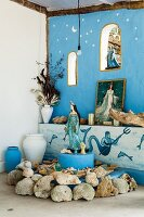 Altar corner in shades of blue venerating the sea goddess Lemanja of the Brazilian Candomblé religion