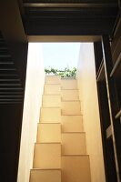 View from below up narrow light well with masonry samba staircase