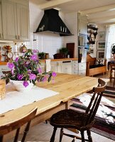 Swedish, country-house-style kitchen-dining room
