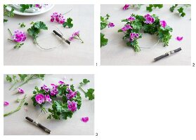 Tying a wreath of scented pelargoniums