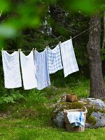 Laundry on washing line in garden