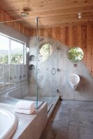 Corner of designer bathroom with glass shower screen and concrete walls panels merging into floor