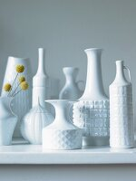Collection of white, china retro vases