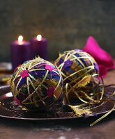 Christmas tree baubles made from fabric remnants