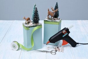 Hand-crafting bookends with winter motif