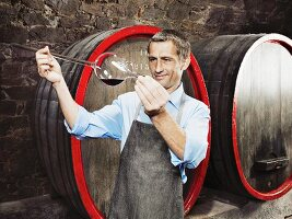 Vintner checking maturity of red wine