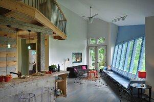 Split-level, open-plan living room and kitchen; Burlington; Vermont; USA