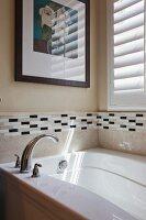Detail of bathtub in bathroom; California; USA