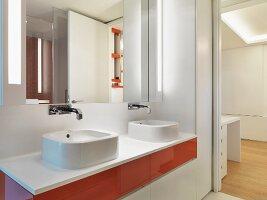 Details of washbasins below mirror in contemporary bathroom; Scottsdale; USA