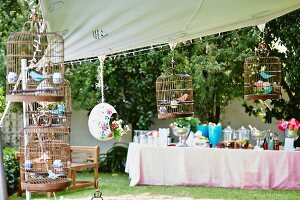 Buffet table in garden for birthday party