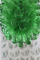 Lampshade made from green glass flowers