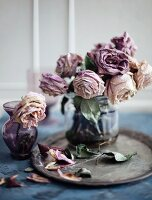 Two vases of faded purple roses