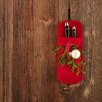 Red cutlery bag
