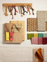 Interior design samples of various fabrics, sisal and wood
