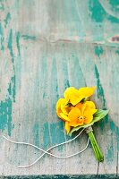 Posy of yellow violas on weathered wooden surface