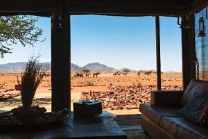 Wolwedans, NamibRand Nature Reserve, Namibia, Afrika - a view from the private lodge looking towards the watering hole