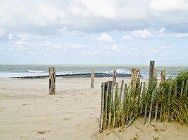 Sandy beach with fenced-off area