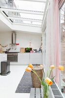 A light kitchen with a glass roof