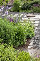 Bed of flowering iris in landscaped garden with pale stone slabs in gravel floor