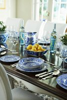 Table set with blue and white crockery