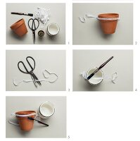 Craft utensils for decorating terracotta pots with lace trim