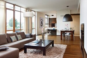 Open-plan living area with sofa, dark wood coffee table; dining area in background and designer kitchen separated by partition