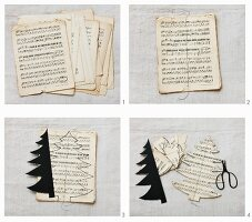 Making Christmas tree made from sheet music cut using template