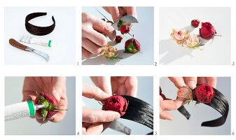 Decorating a headband with roses