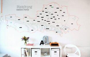 Stylised string art map of Hamburg above desk