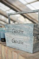 Vintage wooden trug with lettering