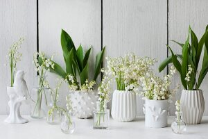 White vases of lily of the valley