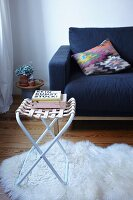 Hand-made stool with woven leather seat