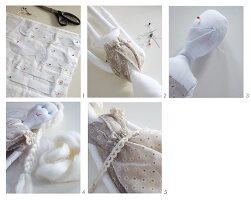 Hand-crafting angel rag doll