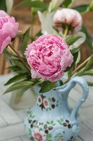 Pink peony in painted jug