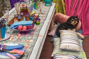 A low, oriental-style garden table set with tea glasses and fruit with a dog sitting on floor cushions on a wooden terrace