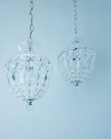 Crystal chandeliers hanging from chains