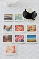 DIY photo coasters and espresso cup and saucer