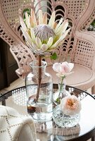 Protea in vintage apothecary bottle and roses in small crystal vases on glass table